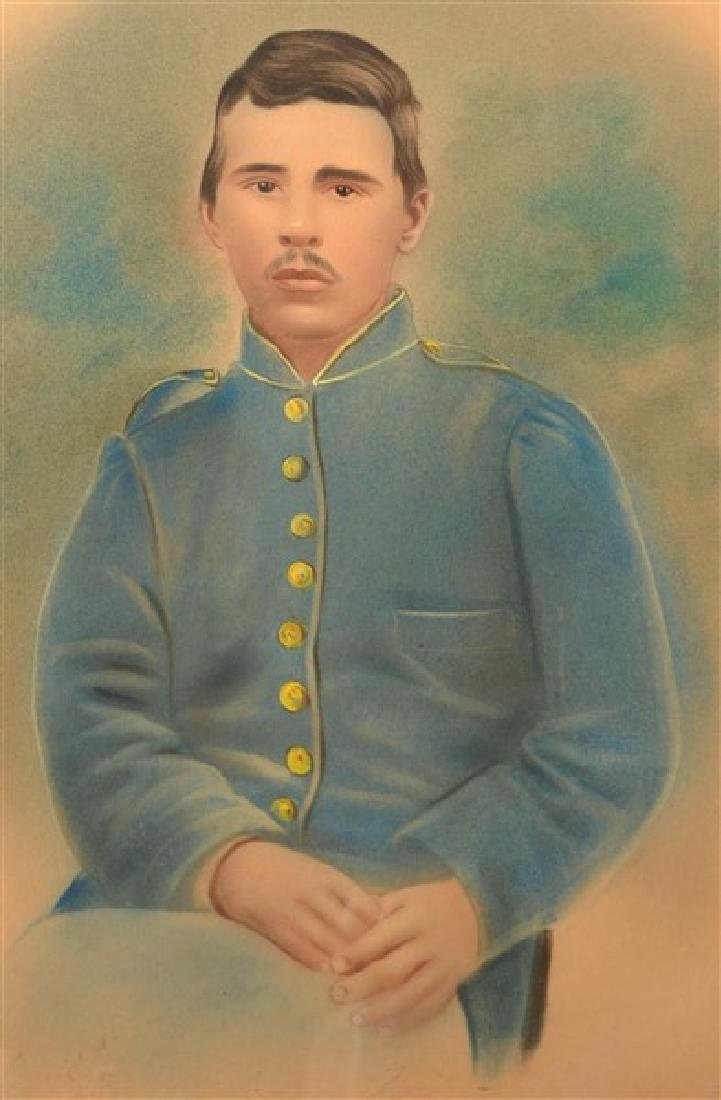 19th Century Pastel Image of a Civil War Soldier. - 2
