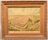 """Color Lithograph """"Bird's-Eye View of Andersonville"""