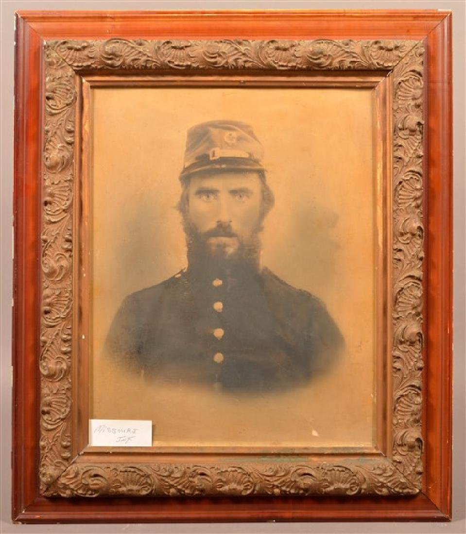 19th Century Charcoal Bust Portrait of a Civil War