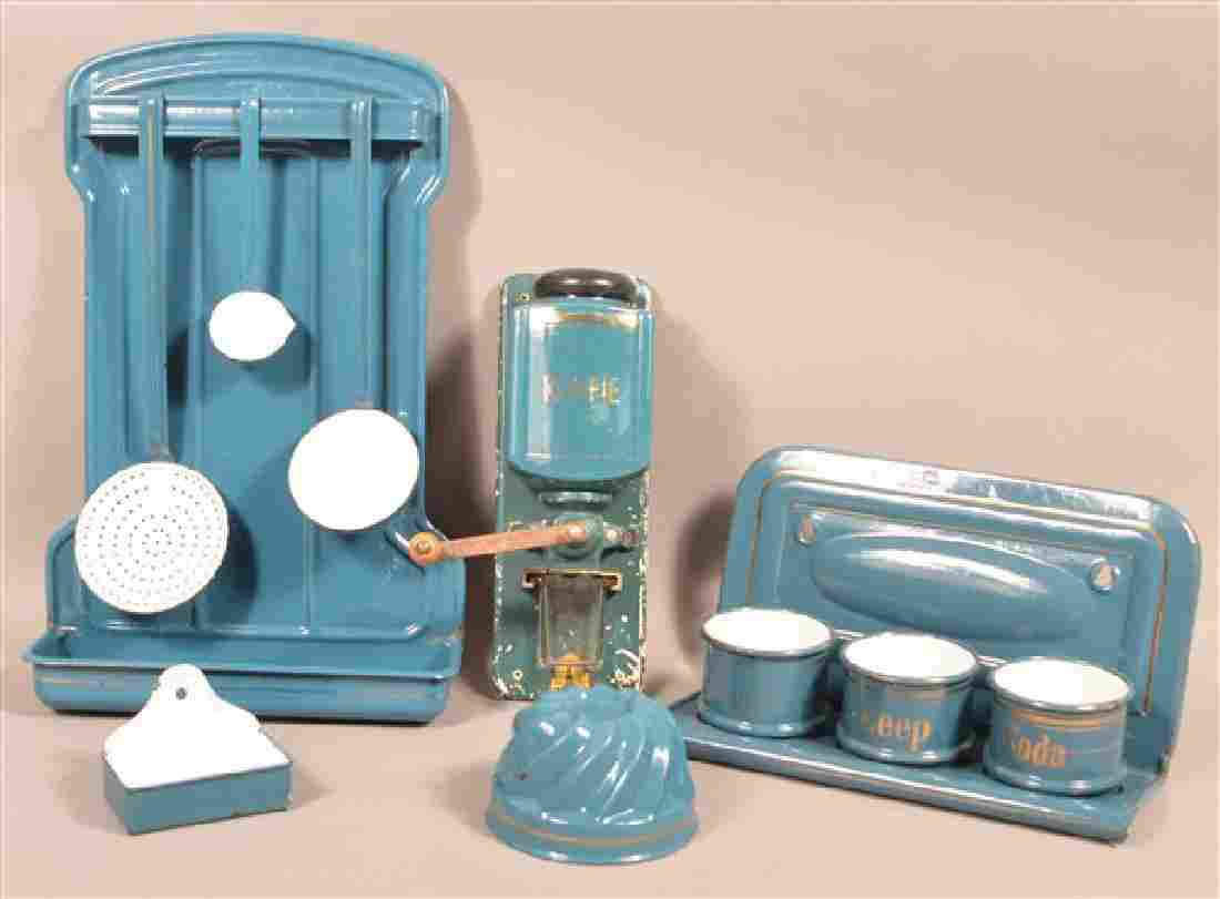 Lot of Blue Enamel Utilitarian Wares and a Ceramic Wall