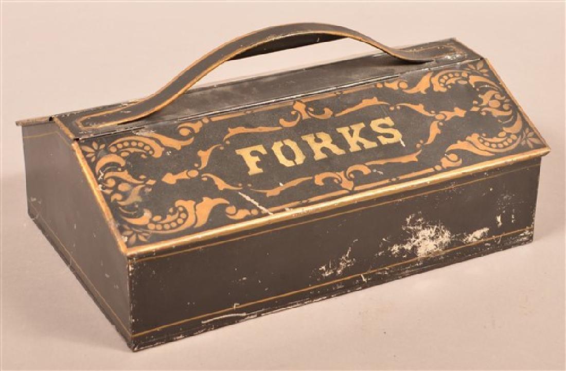 "19th Century Stenciled Tin Utensil Box. 13""w."