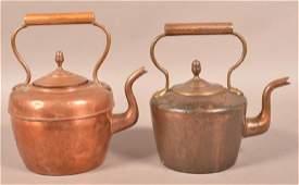 Two Antique English Copper Tea Kettles. Largest