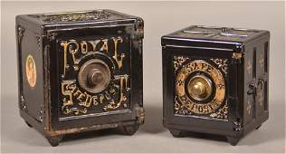 Two Antique Cast Iron Safe Still Banks. Henry C. Hart