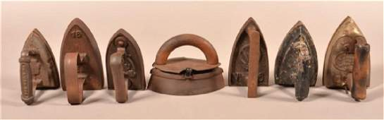 Seven Various AntiqueVintage Irons Tallest measures