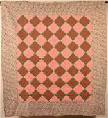 Antique/Vintage Diamond Block Pattern Patchwork Quilt.