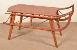 Antique Painted Wood Childs Sled with Iron Runners