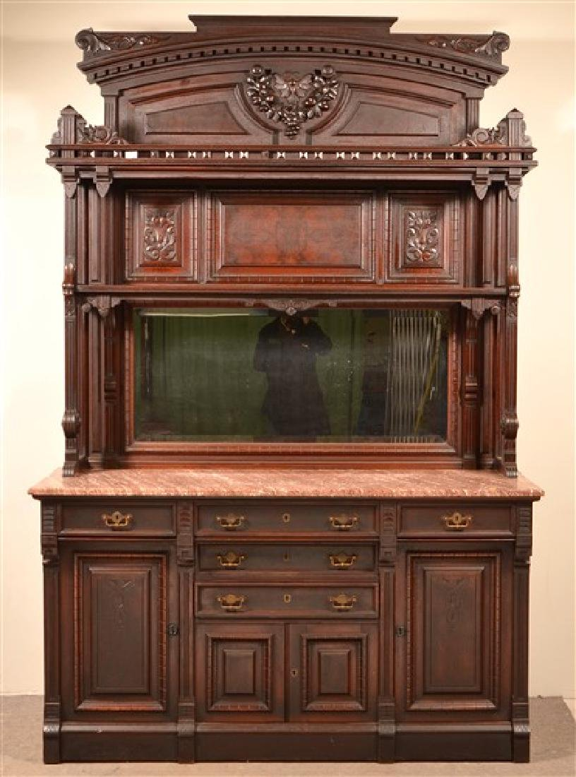 American Victorian Walnut Marble Top Sideboard. Signed