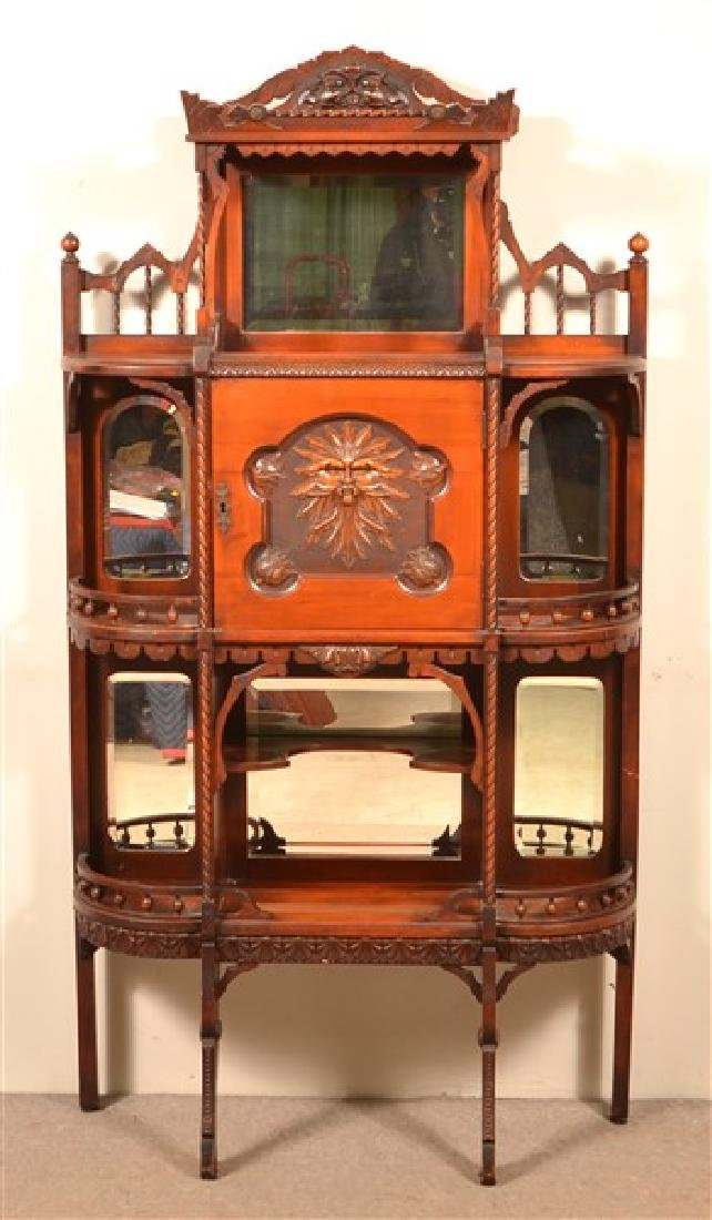 Ornate Antique Mixed Wood Curio Cabinet. Carved and