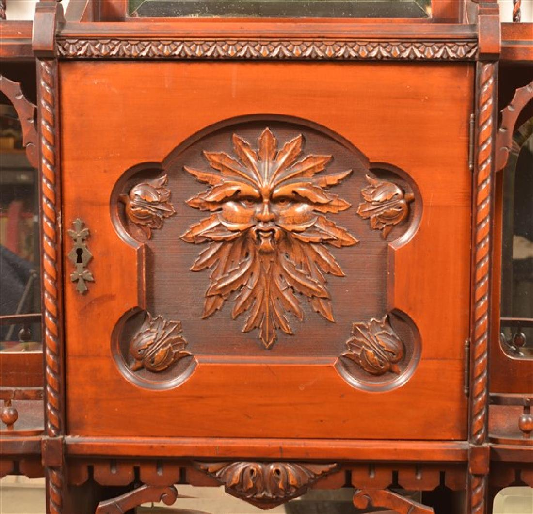 Ornate Antique Mixed Wood Curio Cabinet. Carved and - 2