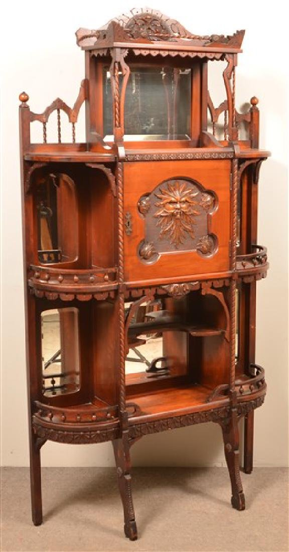 Ornate Antique Mixed Wood Curio Cabinet. Carved and - 3