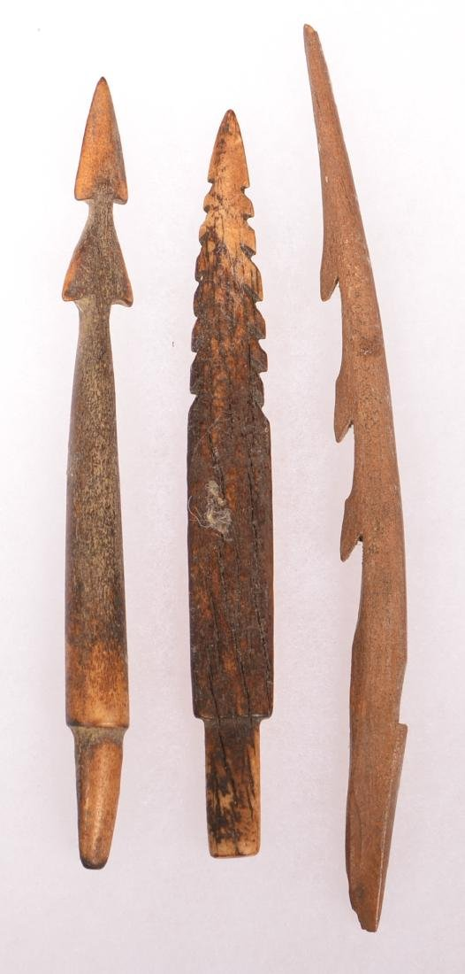 3 Ancient Inuit Barbed Bone Points