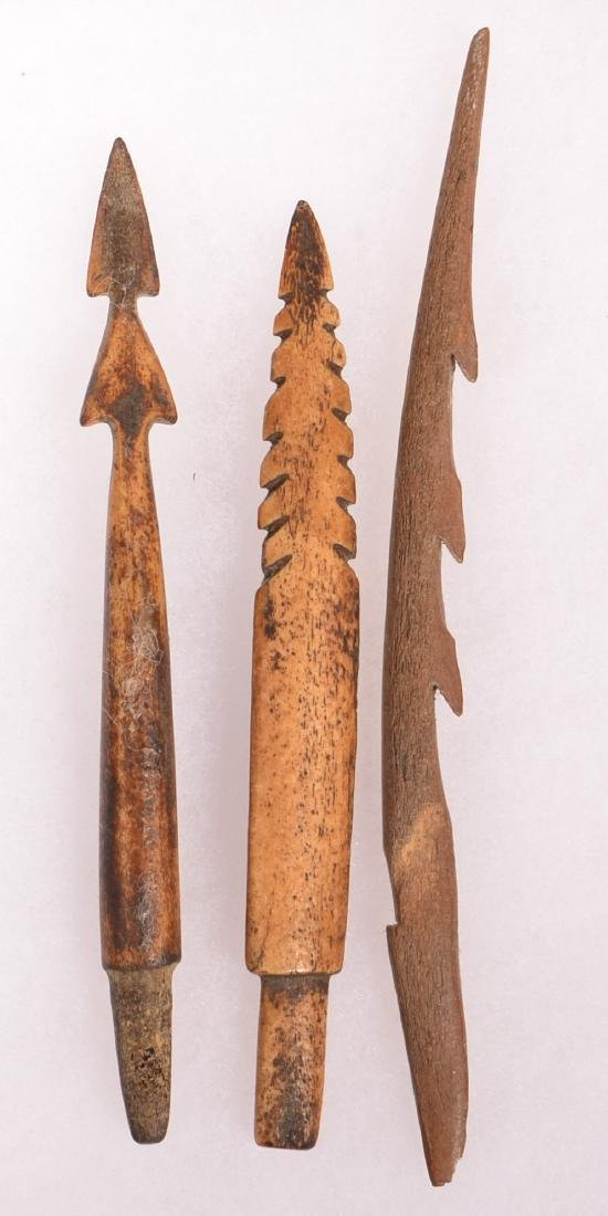 3 Ancient Inuit Barbed Bone Points - 2