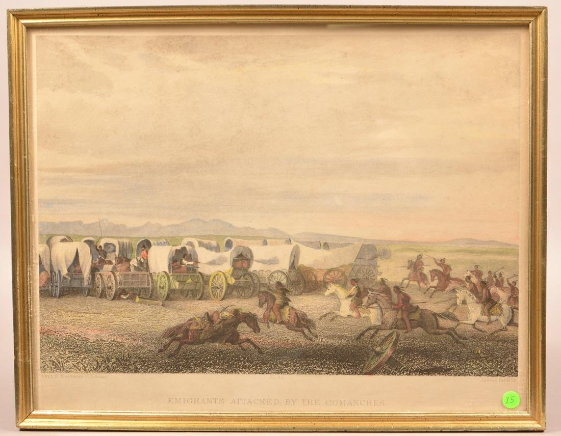 """Vintage Framed Print """"Emigrants Attacked by the"""