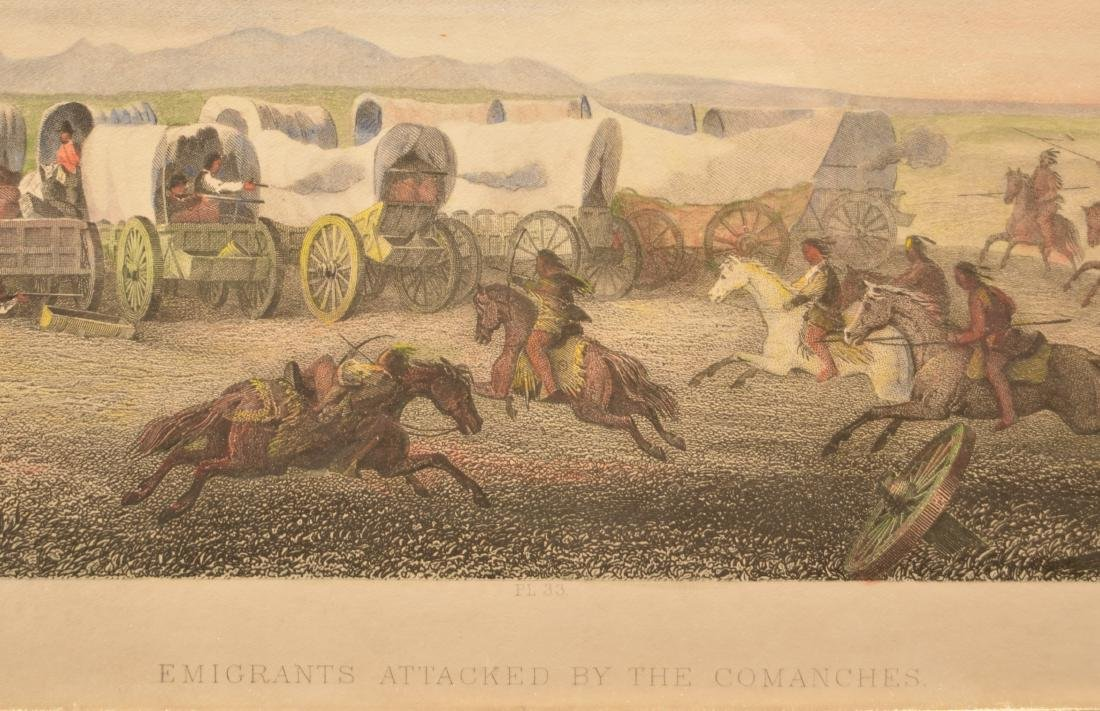 """Vintage Framed Print """"Emigrants Attacked by the - 2"""