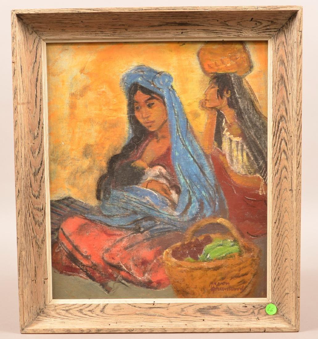 "Oil Painting-Artists Board ""Mexican Market Women"""