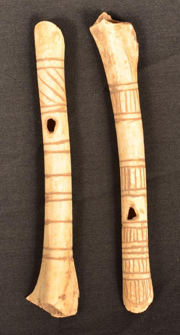 2 Incise Decorated Bone Whistles