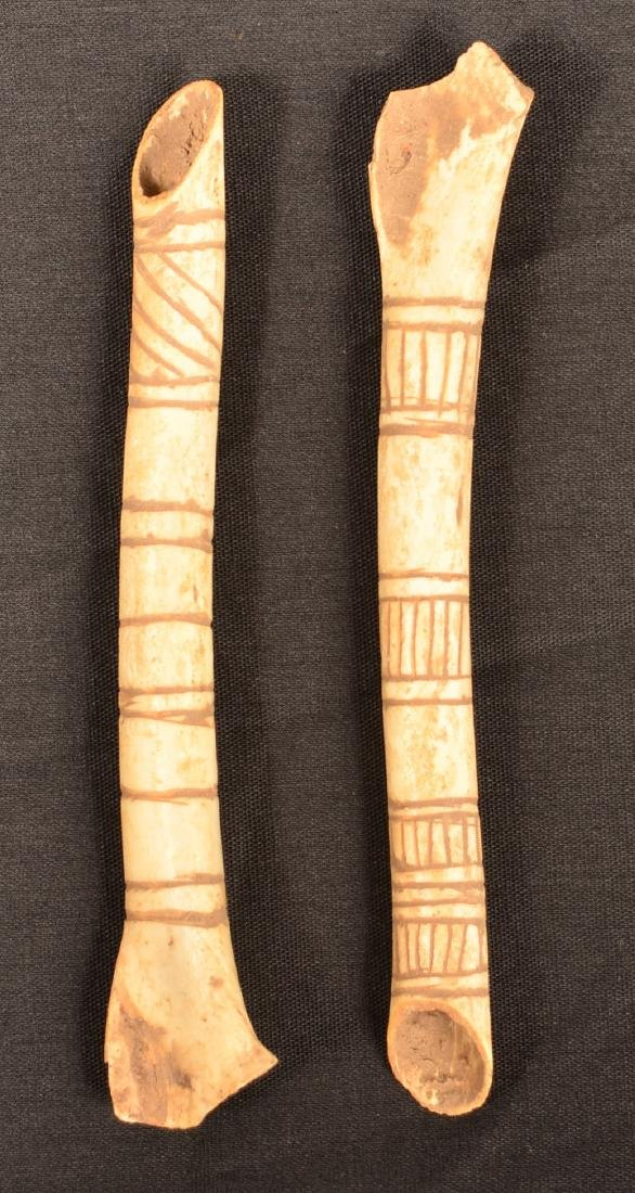 2 Incise Decorated Bone Whistles - 2