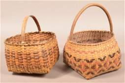 2 Vintage Cherokee Split River Cane Baskets