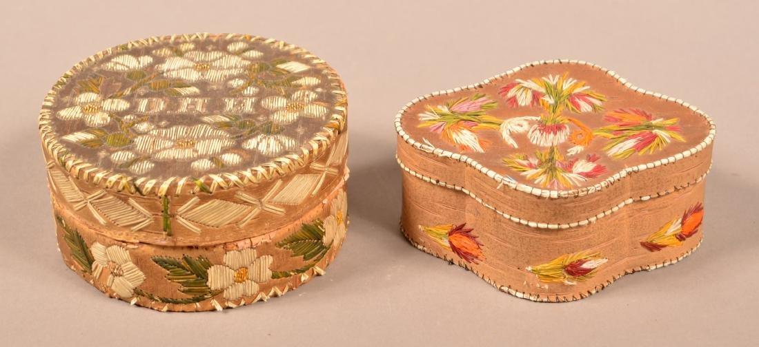 2 Birchbark, Porcupine Quill Decorated Trinket Boxes