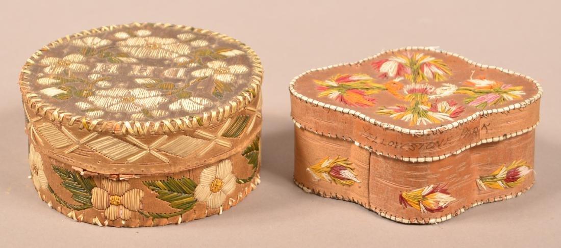2 Birchbark, Porcupine Quill Decorated Trinket Boxes - 3