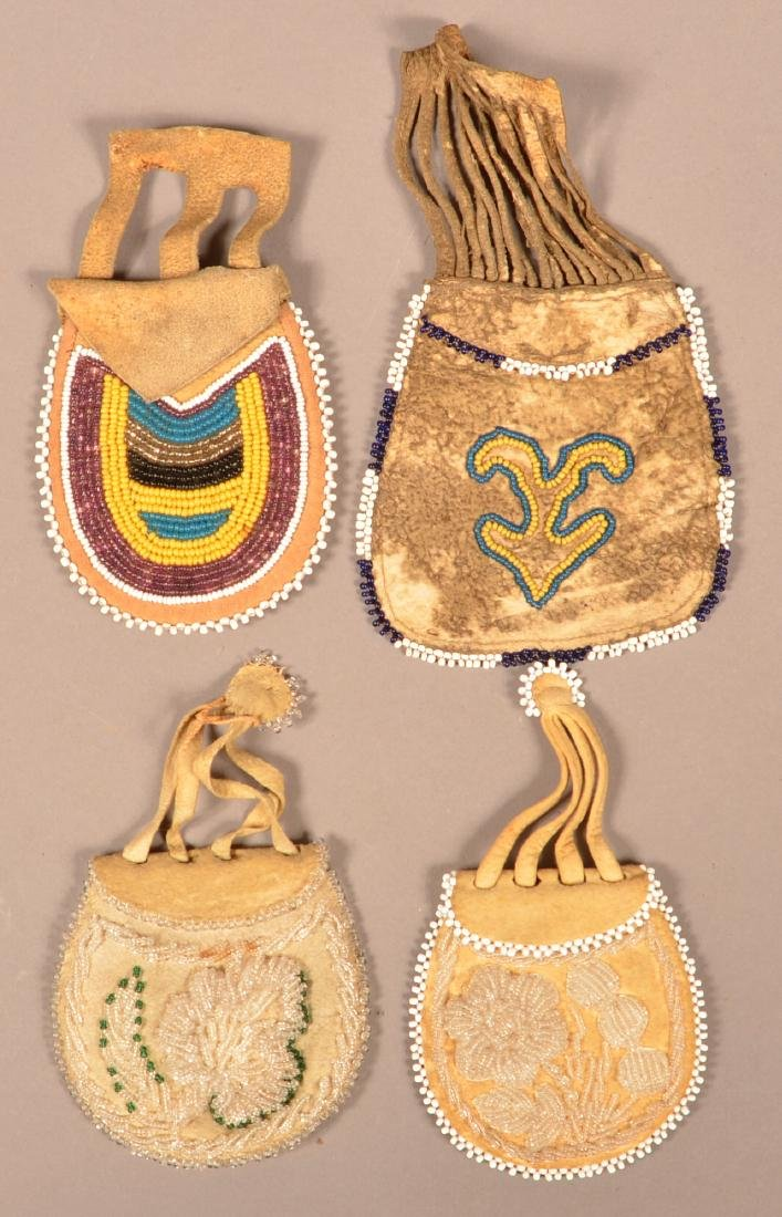 Group of 4 Beaded Bags, Iroquois and Midwest Types of