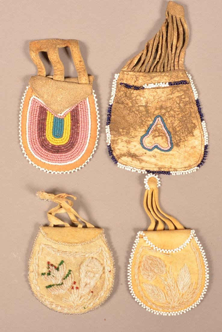 Group of 4 Beaded Bags, Iroquois and Midwest Types of - 2