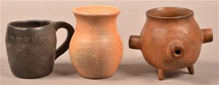 3 pcs. Vintage Cherokee/ Catawba Pottery - Cup Vase