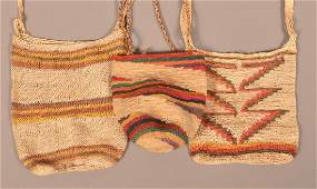 3 Hand Woven Central American Indian Carrying Bags