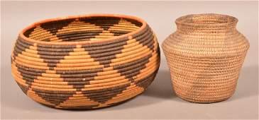 2 Coiled Baskets Antique Apache Basket 6 14 x 6