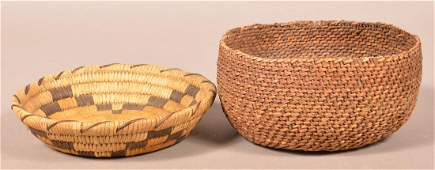 2 Vintage S.W Indian Baskets, Papago Coiled, Antique