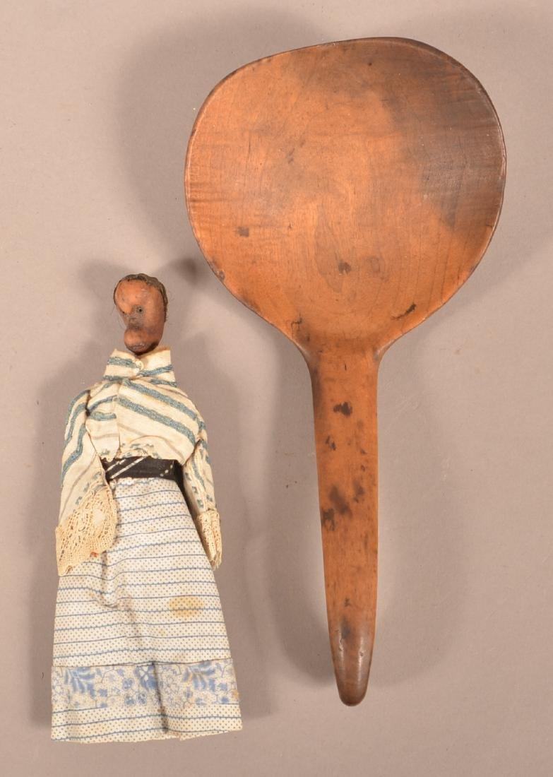 2 Vintage Items, Wood Ladle and Folk Art Doll