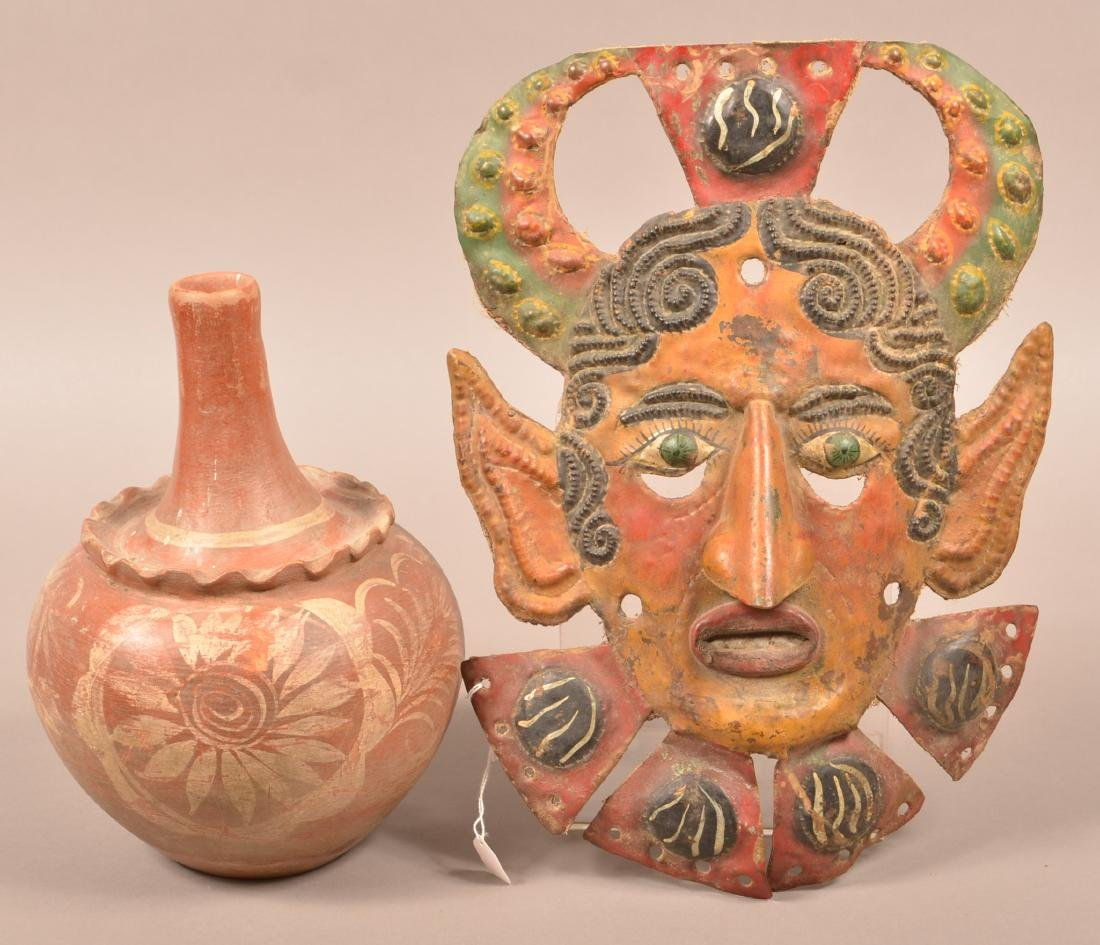 2 Mexican Folk Art Items - Painted Metal Mask and