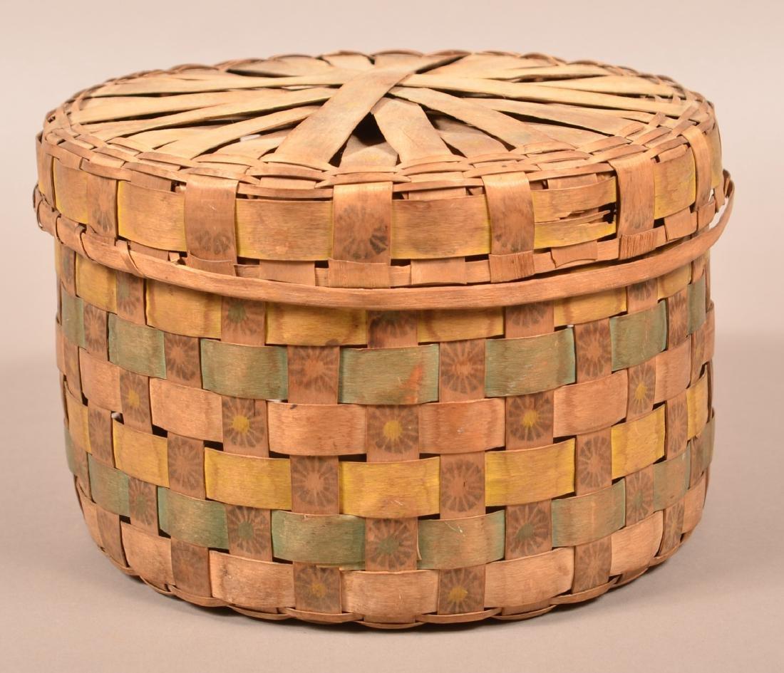 Antique New England Indian Ash Splint Basket, Lidded