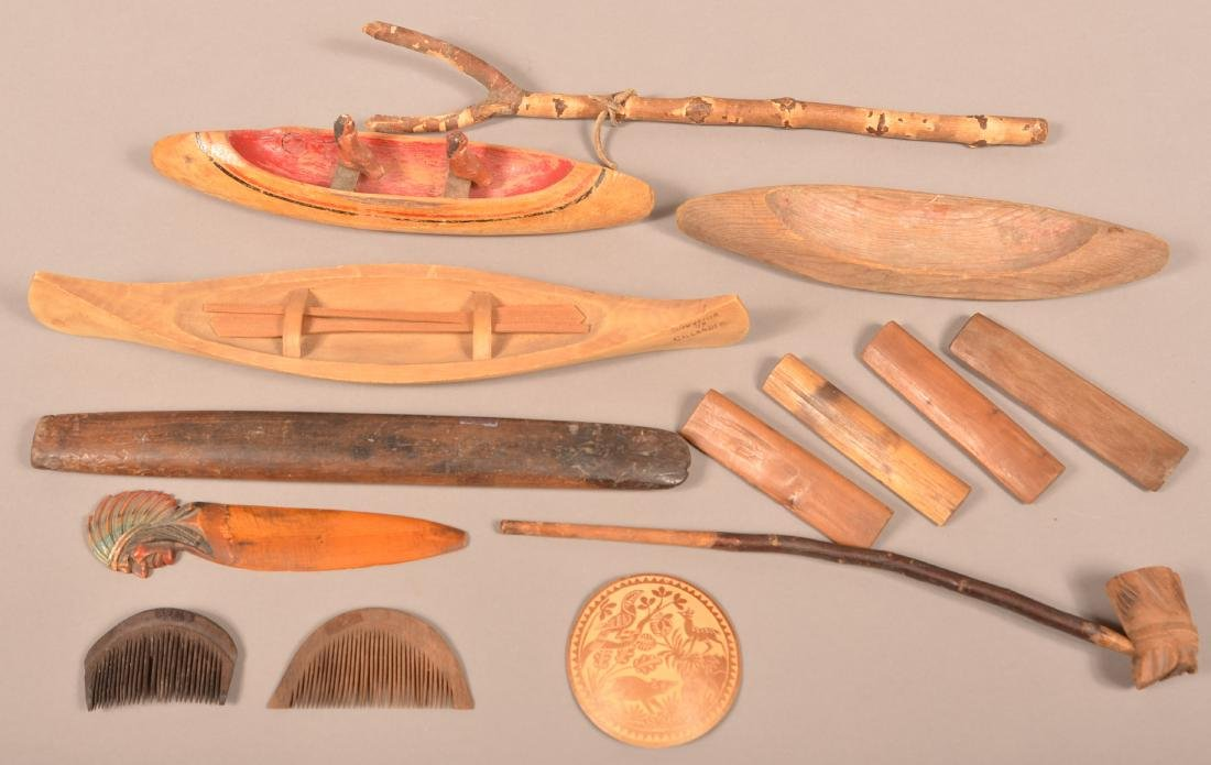 Boxed Group of Mostly Wooden Curios - Toy Canoes,