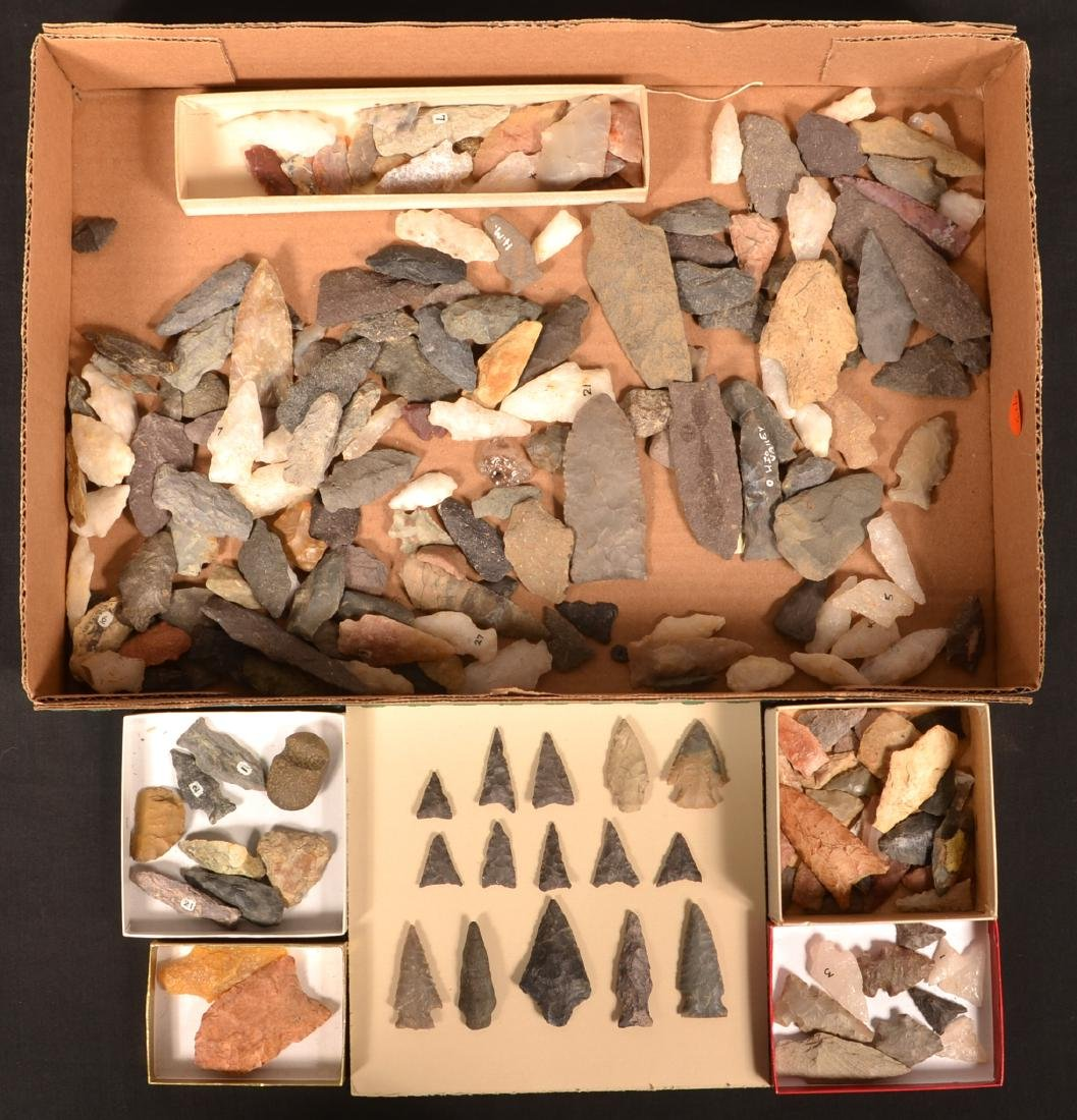 Boxed Collection of Prehistoric Stone Points and