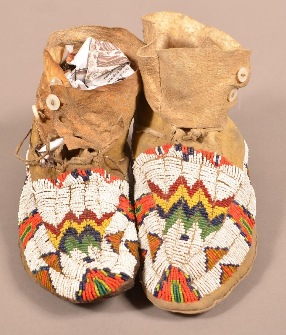 Vintage Pair of Plains Indian Beaded Moccasins