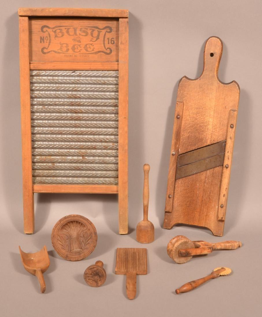 9 Pieces of Antique Wooden Utilitarian Wares.