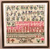 1935 Lancaster, PA Amish Alphabet Sampler.