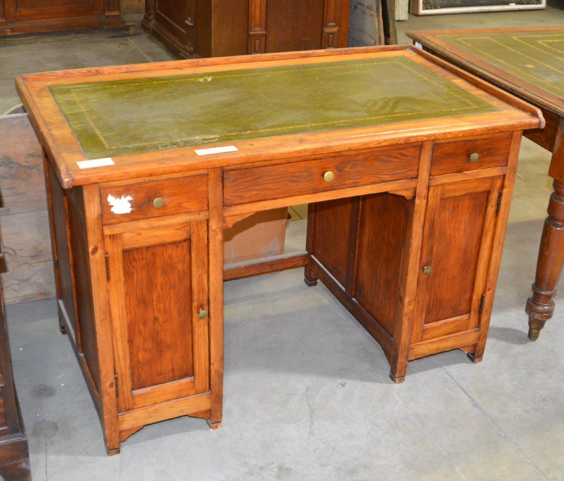 Pitch Pine Desk with Inlaid Leather Surface