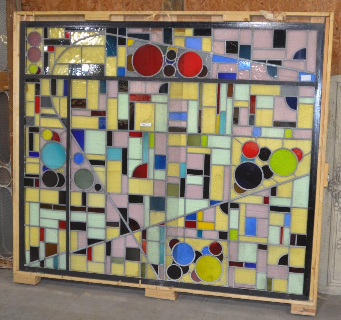Mid-Century Modern Leaded Stained Glass Window