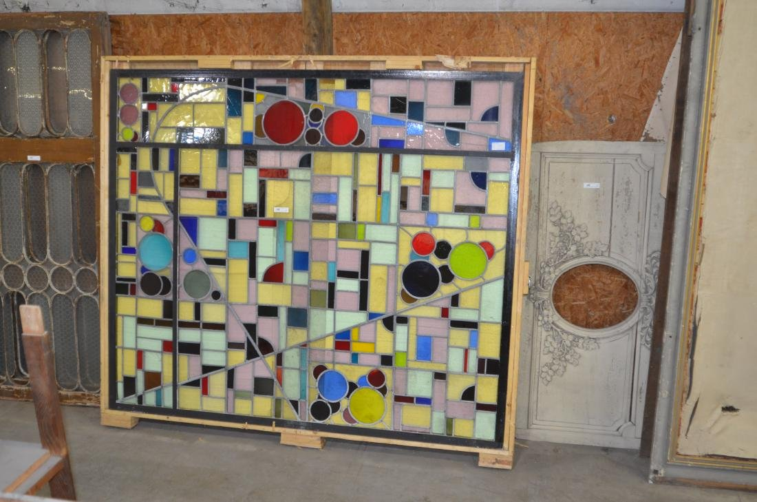 Mid-Century Modern Leaded Stained Glass Window - 2