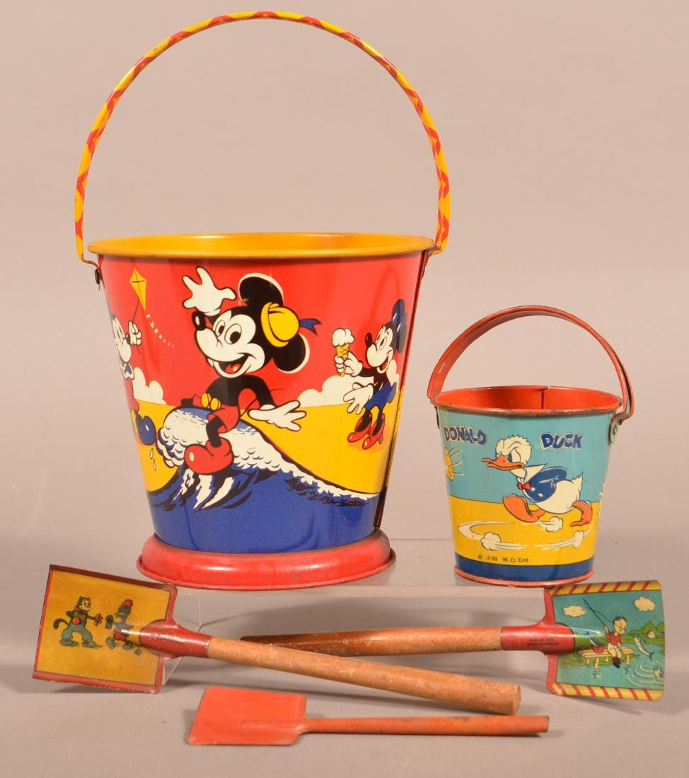 Mickey Mouse and Donald Duck Tin Lithograph Sand Pails