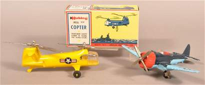 Hubley Diecast Helicopter and Airplane