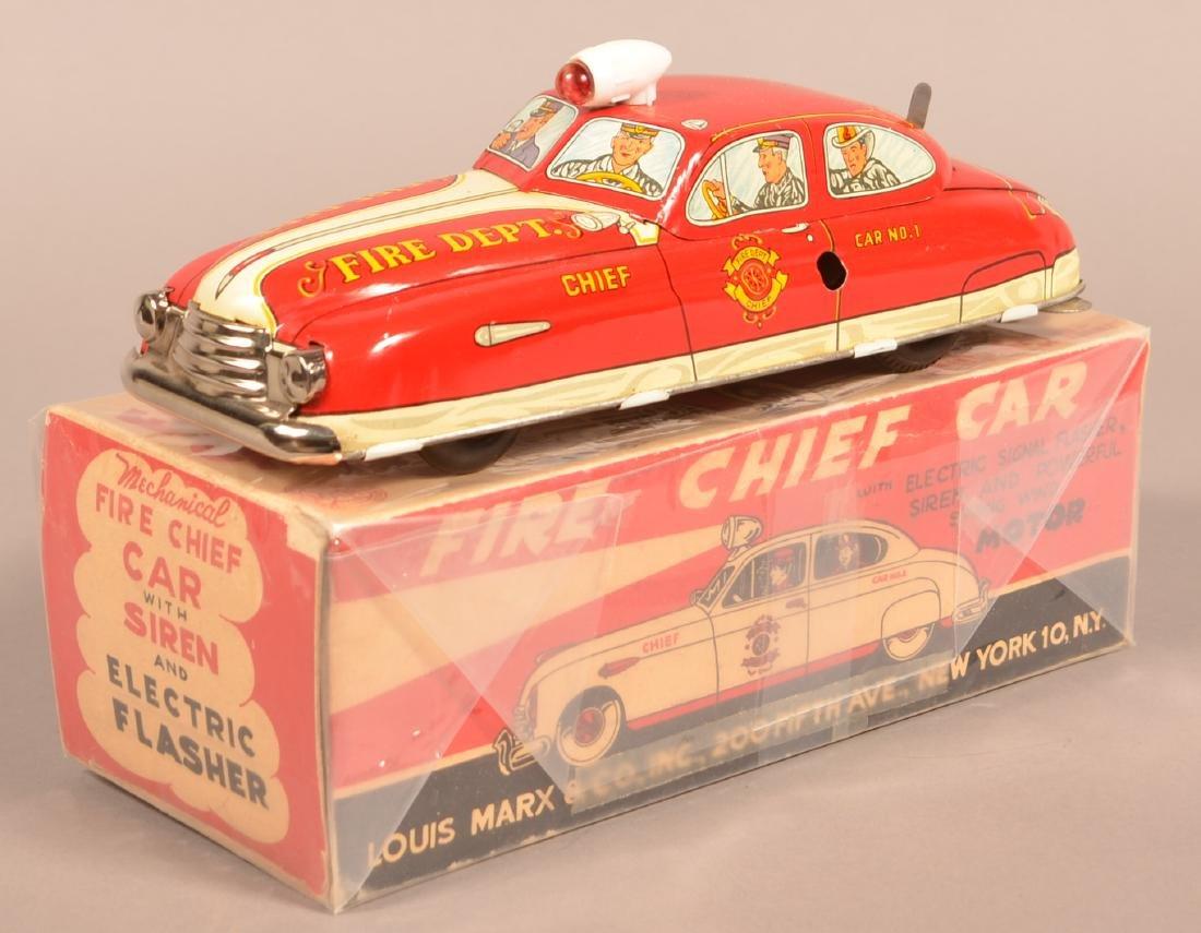 Marx Tin Lithograph Fire Chief Car with Original Box.