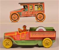 Two J Chein Tin Lithograph Automobiles