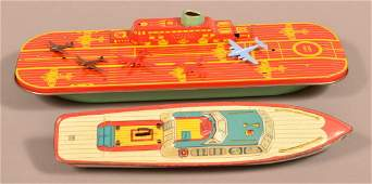 Two Vintage Tin Lithograph Boat Toys