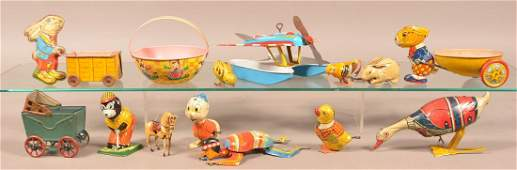 Lot of Tin Lithograph Windup Toys