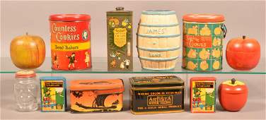 Lot of Vintage Tin Lithograph Canisters