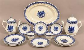 15 Pieces of Gem Pattern Flow Blue Ironstone China.