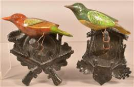 Pair of Victorian Folk Art Carved and Painted Birds.